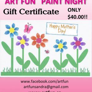 Art Fun Paint Night Gift Certificate